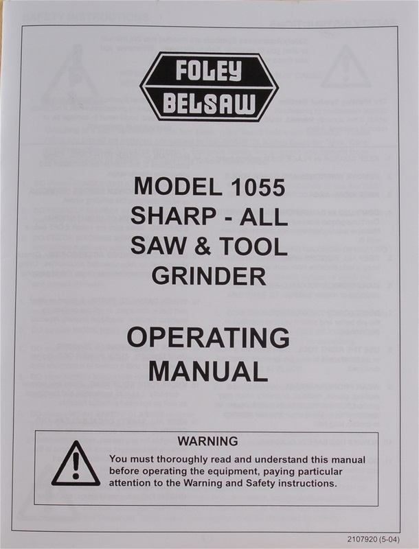 Foley Belsaw Model 1055 Sharp-All Operating Manual