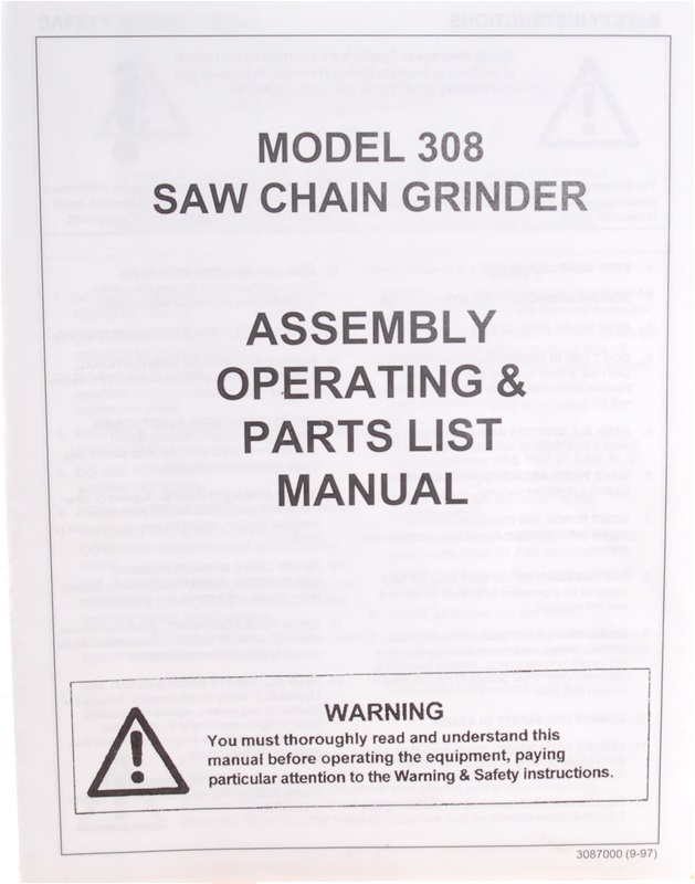 Manual for Model 308 Chain Grinder
