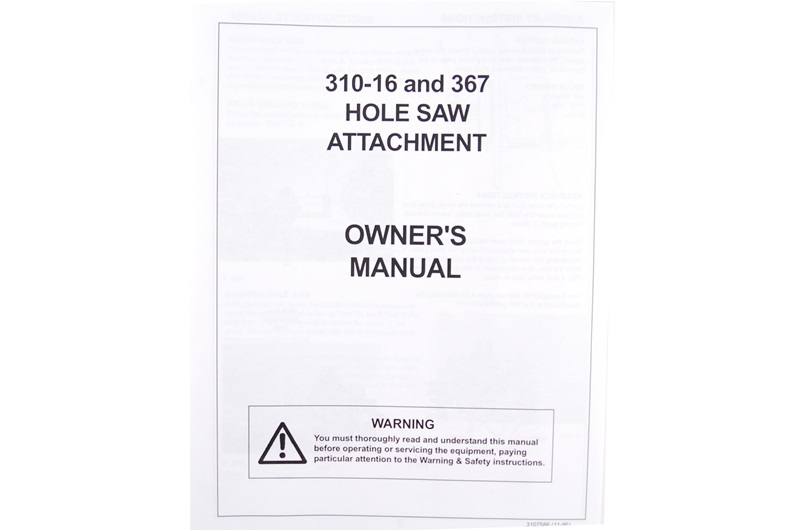 Manual for Model 3109586 Hole Saw Sharpener for 310-16 and 310