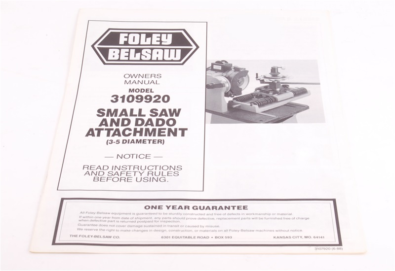 Manual For Foley Belsaw Model 3109920 Small Saw And