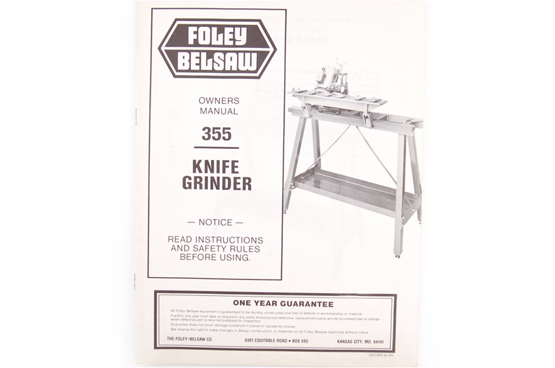Foley-Belsaw Model 355 Knife Grinder Manual