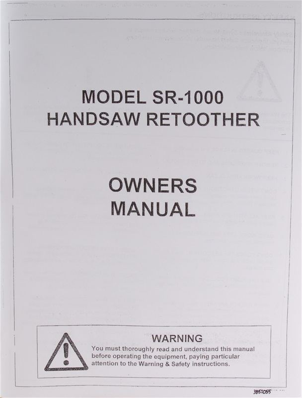 Manual for Foley-Belsaw Models 385 and SR1000