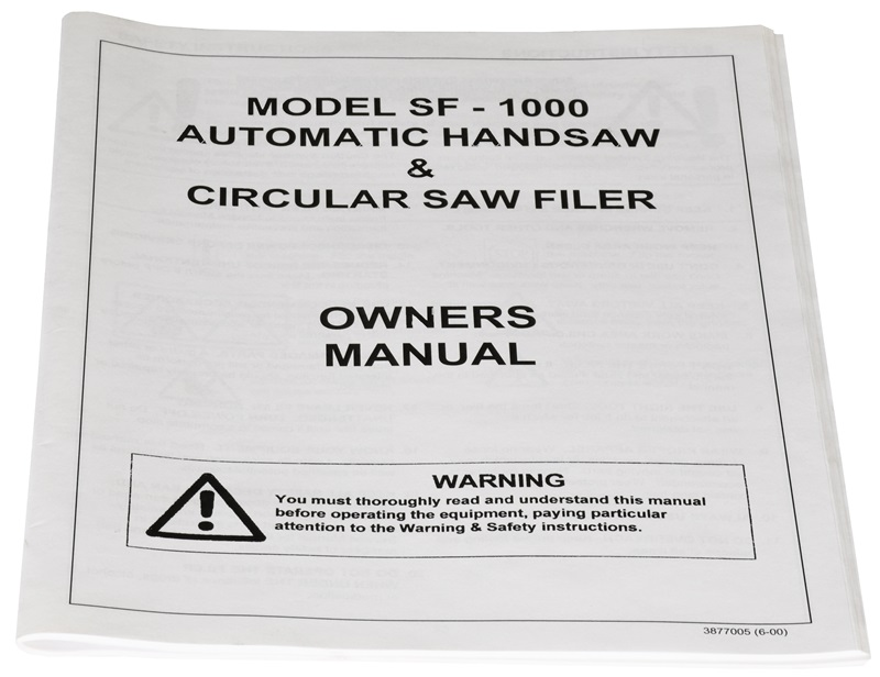 Manual for Model SF1000 Automatic Handsaw & Circular Saw Filer