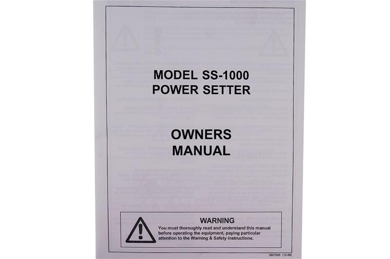 Manual For Foley Belsaw Model SS1000 Setter