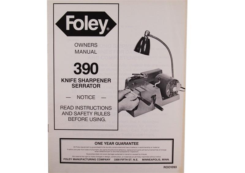 Manual For Foley Belsaw Model 390 Knife Sharpener Serrator