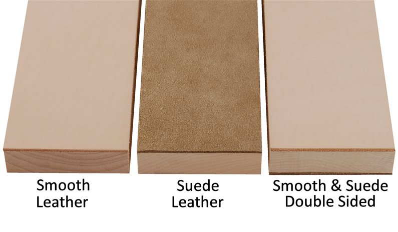 Comparing the smooth and suede leather sides on strops.