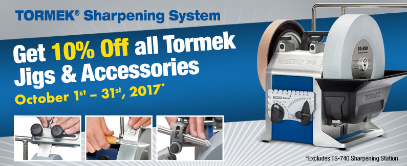 Save 10% on all Tormek Jigs and Accessories