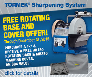 Tormek T7 FREE Rotating Base and Machine Cover Promo