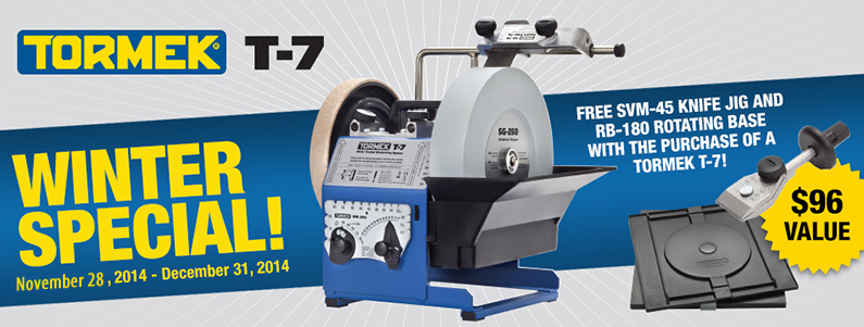 Tormek T7 FREE Knife Jig and Rotating Base Offer