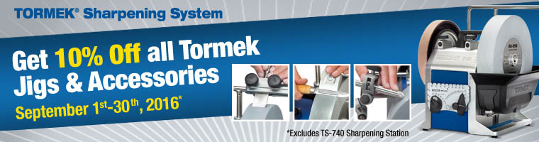 Tormek Save 10% on All Jigs & Accessories - All September Offer